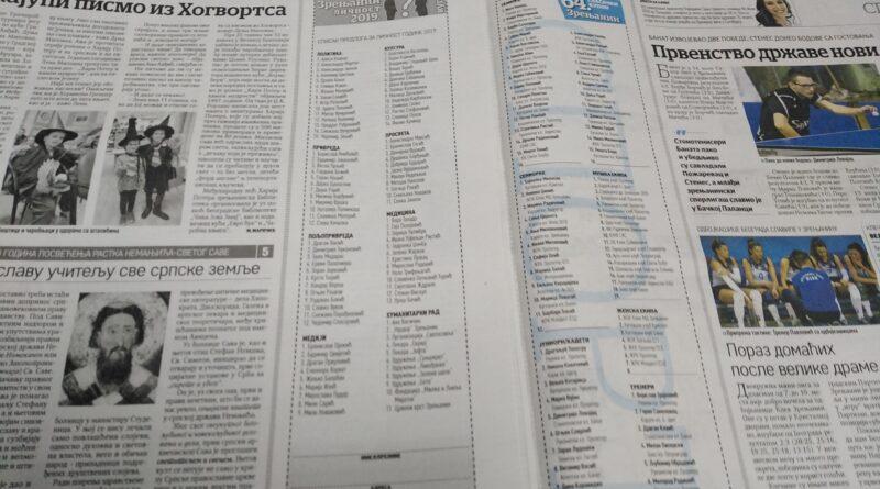 "AKCIJE LISTA ""ZRENJANIN"": ""Sportista"" do 6, ""ličnost"" do 13. marta"